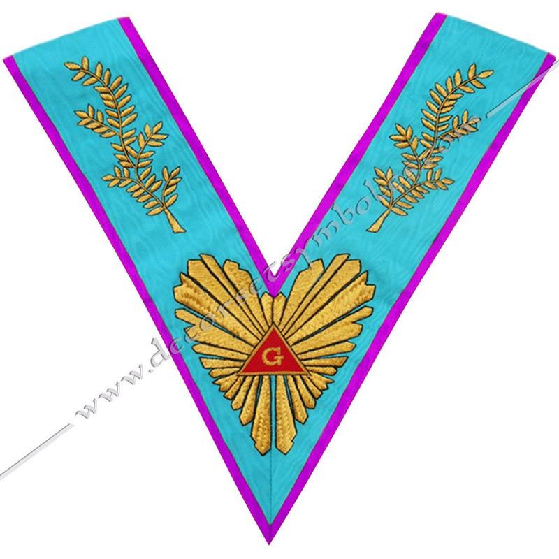 VRM010P - Sautoir de Vénérable Maitre de Memphis Misraim. Grande gloire, acacia, broderies or. Décors franc maçonnerie