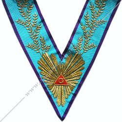 VRM051P - Sautoir de Vénérable Maitre de Memphis Misraim. Grande gloire, acacia, broderies or. Décors franc maçonnerie