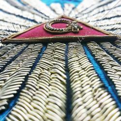 Sautoir de vénérable Maitre, Memphis Misraim, grande gloire, acacia doré, décors franc maçonnerie, bijoux or, cadeaux