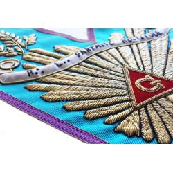 Sautoir de vénérable Maitre, RMM, grande gloire, branche acacia dorée, banderole personnalisée, bijoux or, décors FM
