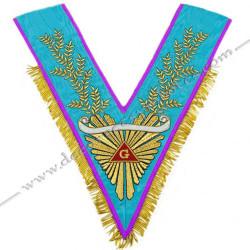 VRM072P - Sautoir de Vénérable Maitre de Memphis Misraim. galon, doré a franges, acacia, banderole personnalisée