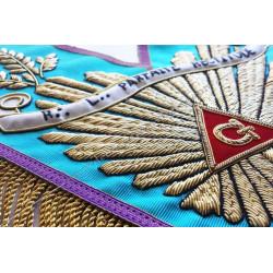 Sautoir de vénérable Maitre, RMM, galon à franges or, branche acacia dorée, banderole personnalisée, bijoux or, décors FM