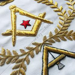 Tablier maçonnique de véné, rite français, décors franc-maconnerie, colonnes, équerre compas, acacia, doré