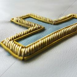 Tau RFM, fil d'or,  rite français moderne. Décors franc maçonnerie, dos bleu, pendeloques, taus, décors FM