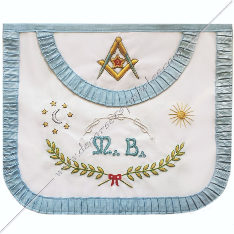 TRFM010C-Tablier maçonnique de maître du rite français moderne. Décors, symboles et signes maçonniques