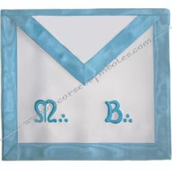 TRFT040C-Tablier maçonnique de maître du rite français traditionnel. Décors franc maçonnerie, dos bleu clair