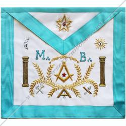TRF 016B -Tablier maçonnique de Vénérable Maitre RF Groussier. Décors franc-maconnerie, colonnes, acacia, équerre, compas