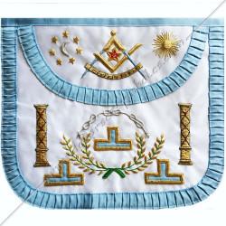 TRFT050C-Tablier maçonnique de maître du rite français traditionnel. Décors, symboles et signes maçonniques, colonnes
