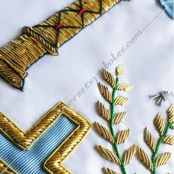Décors maçonniques, tablier de vénérable du rite français traditionnel, colonnes, acacia, taus brodés au fil d'or, cadeaux FM