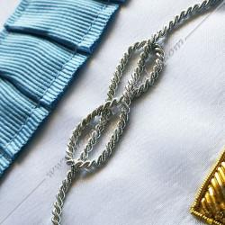 Décors maçonniques, tablier de vénérable du rite français traditionnel, lac d'amour fil d'argent, bijoux, cadeaux FM