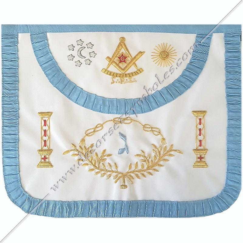 TRFM489C-Tablier maçonnique de maître du rite français traditionnel. Décors, symboles et signes maçonniques, colonnes