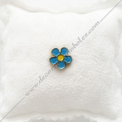 PIN002- Mini pin's myosotis doré à l'or fin. Décors, symboles et signes maçonniques. Accessoires, bijoux de franc maçonnerie