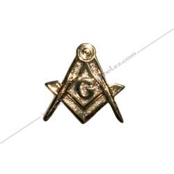 PIN003- pin's équerre et compas doré à l'or fin. Décors, symboles et signes maçonniques. Accessoires, bijoux de franc maçonnerie