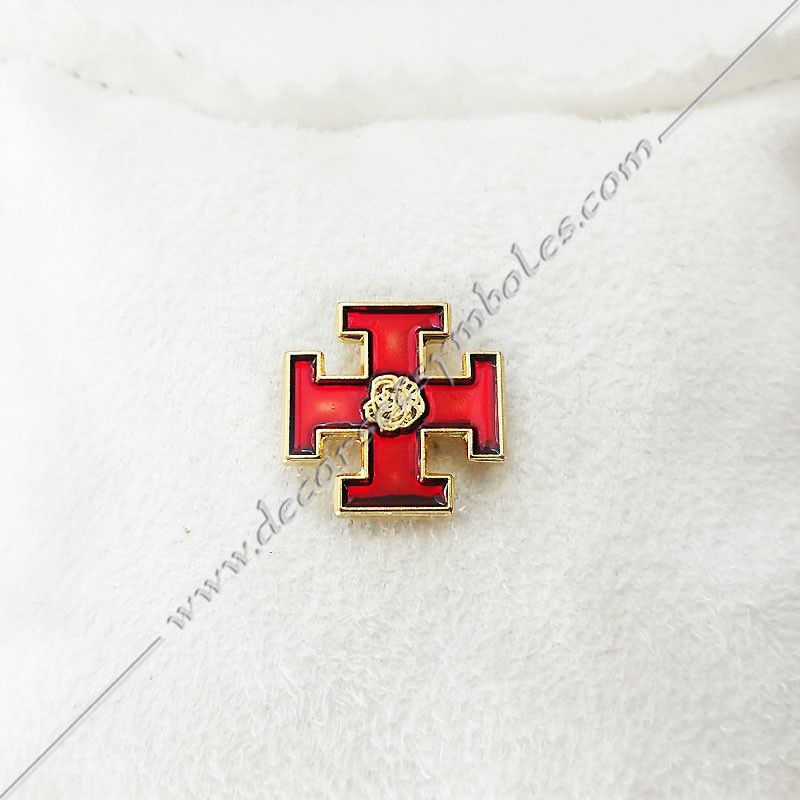 PIN006- Pin's Rose Croix rouge doré à l'or fin. Décors, symboles et signes maçonniques. Accessoires, bijoux de franc maçonnerie