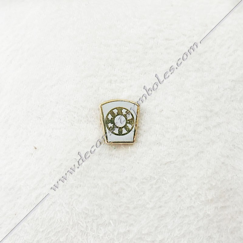 PIN012- pin's la marque doré à l'or fin, blanc. Décors, symboles et signes maçonniques. Accessoires, bijoux de franc maçonnerie