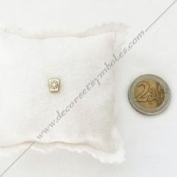 pin's la marque doré à l'or fin, blanc. Décors, symboles et signes maçonniques. Accessoires, bijoux de franc maçonnerie