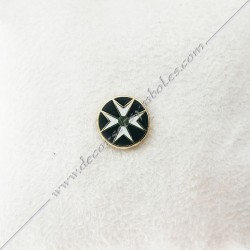 PIN013- pin's croix de malte doré à l'or fin, noir et blanc. Décors, symboles et signes maçonniques. Bijoux de franc maçonnerie