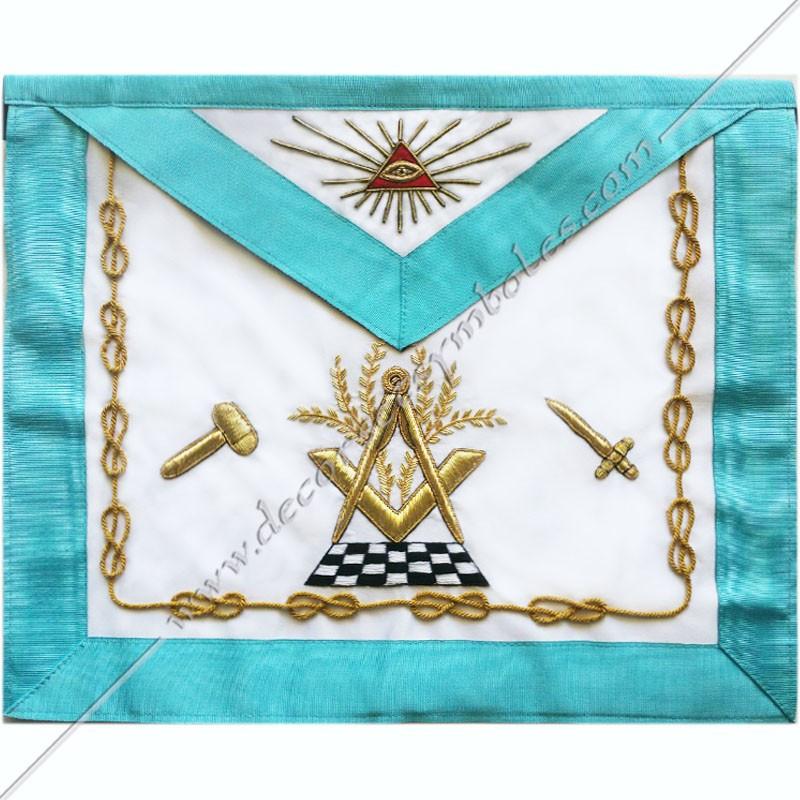 TRF 372B -Tablier maçonnique de Vénérable Maitre RF Groussier. Décors franc-maconnerie, acacia, équerre, compas, pavé mosaïque