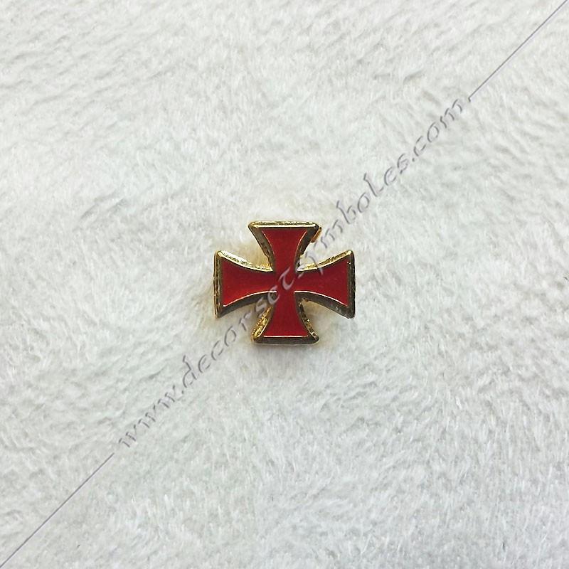 PINPO3- Pin's croix templière rouge maçonnique. Décors, symboles en plaqué or 24 carats maçonniques. Bijoux FM