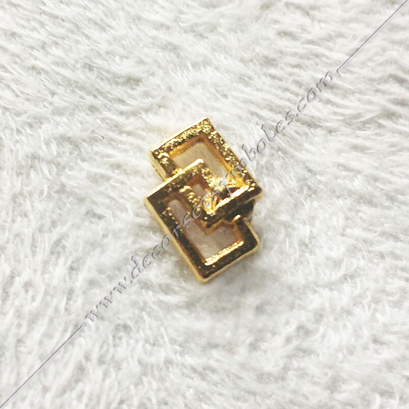 PINPO4- Pin's double carré long  maçonnique. Décors, symboles en plaqué or 24 carats maçonniques. Bijoux FM