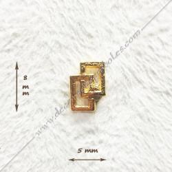 Pin's double carré long, rectangles maçonnique. Décors, symboles en plaqué or 24 carats maçonniques. Bijoux FM