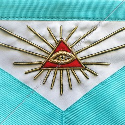 tablier maçonnique , vénrable maitre, RF, décors franc-maconnerie, oeil, triangle, accessoires, bijoux, cadeaux
