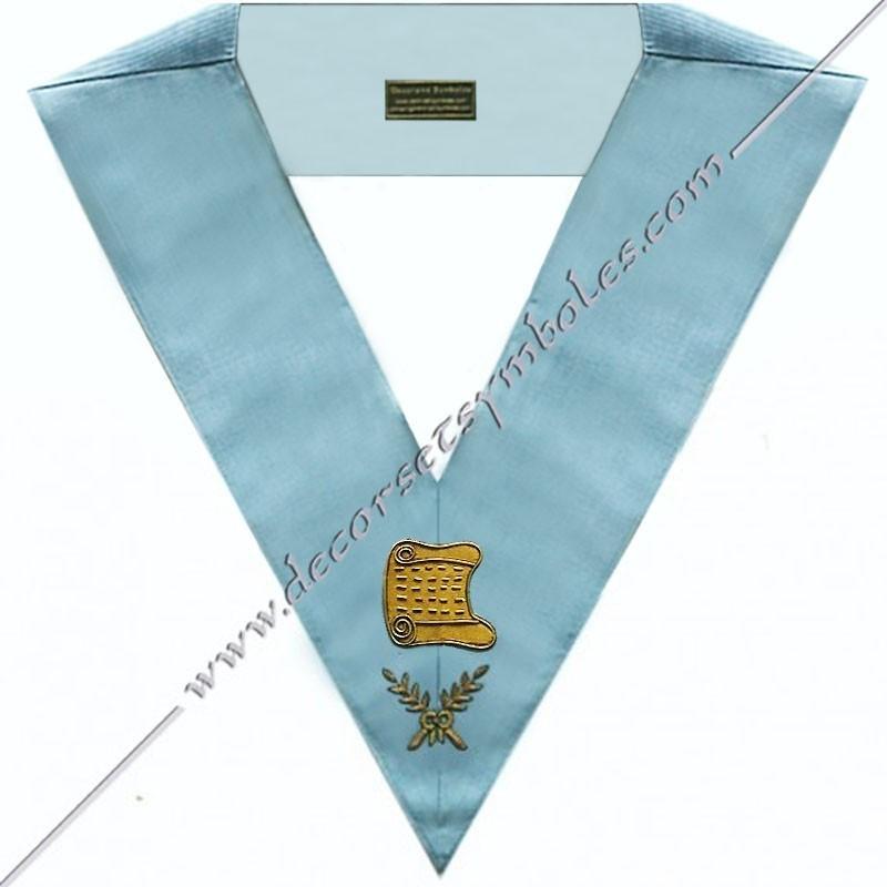SRFM 002 - Architecte, sautoir d'officier du rite français moderne, acacia, décors maçonniques, bijoux, franc maçonnerie