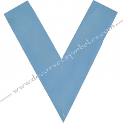 Dos bleu ciel, crane, sautoir officier, bijoux de loges, or, RFM , décors maçonniques, franc maçonnerie, aumônier