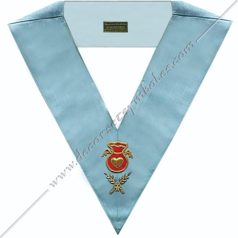 SRFM 003 - Aumonier, sautoir d'officier du rite français moderne, acacia, décors maçonniques, bijoux, franc maçonnerie