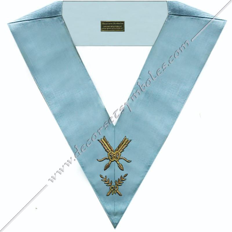 SRFM 004 - Secrétaire, sautoir d'officier du rite français moderne, acacia, décors maçonniques, bijoux, franc maçonnerie