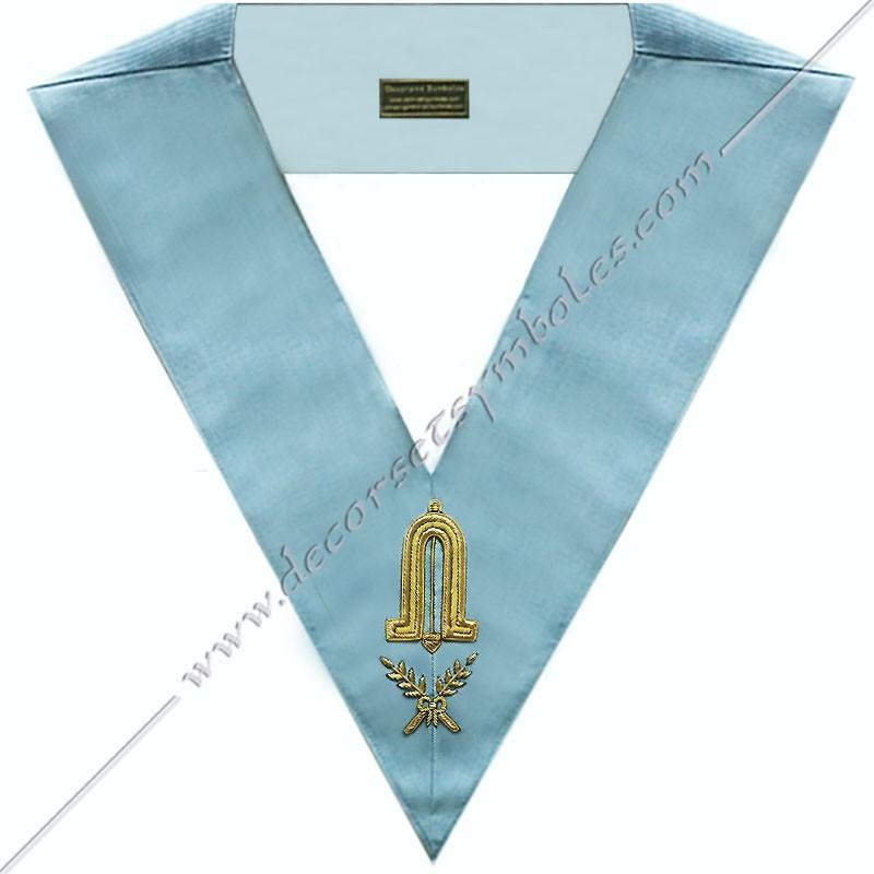 SRFM 005 - 2nd surveillant, sautoir d'officier du rite français moderne, acacia, décors maçonniques, bijoux, franc maçonnerie