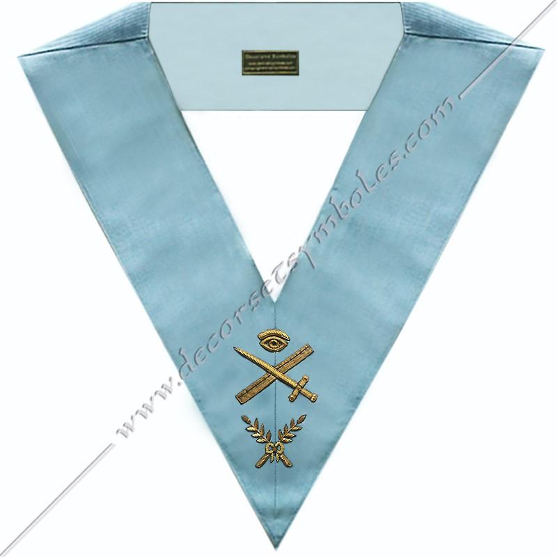 SRFM006-sautoir-maconnique-officier-grand-expert-rite-français-moderne-acacia-decors-franc-maconnerie-bijoux loge-outils-fm