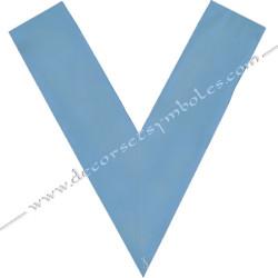 Dos bleu ciel, crane, sautoir officier, bijoux de loges, or, RFM , décors maçonniques, franc maçonnerie, Maître des banquets