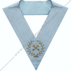SRFM 011 - Trésorier, sautoir d'officier du rite français moderne, acacia, décors maçonniques, bijoux, franc maçonnerie