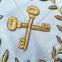 Trésorier, sautoir d'officier du rite français moderne, acacia, décors maçonniques, bijoux, franc maçonnerie, loges bleues