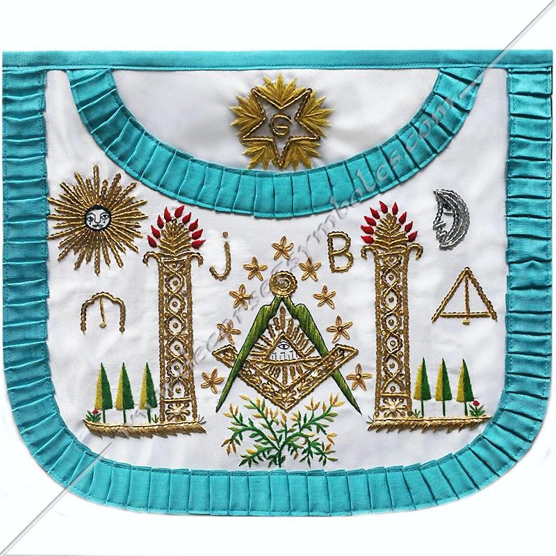 TRF 018B -Tablier maçonnique de Vénérable Maitre RF Groussier. Décors franc-maconnerie, symboles, dorés, cadeaux, bijoux
