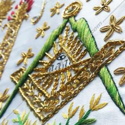 Tablier maçonnique de Vénérable Maitre RF. Décors franc-maconnerie, équerre, compas, dorés, cadeaux, bijoux
