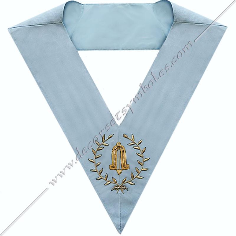 SRFM 015 - 2nd surveillant, sautoir d'officier du rite français moderne, acacia, décors maçonniques, bijoux, franc maçonnerie