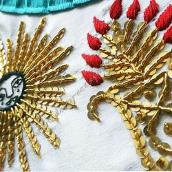 Tablier maçonnique, véné, rite français, décors franc-maconnerie, broderies, cadeaux, qualité