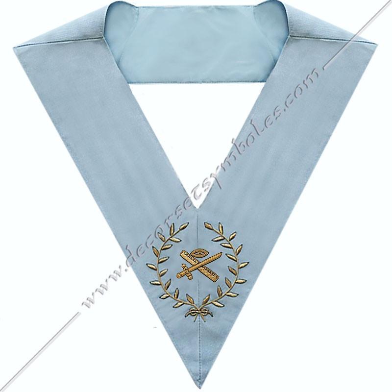 SRFM 016 - Grand expert, sautoir d'officier du rite français moderne, acacia, décors maçonniques, bijoux, franc maçonnerie