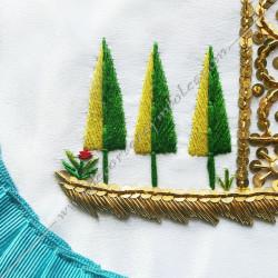 Tablier maçonnique de Vénérable Maitre RF. Décors franc-maconnerie, équerre, compas, dorés, cadeaux, bijoux, accessoires