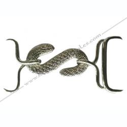 boucle ceinture, serpent argenté, tablier d'apprenti, franc maçonnerie, simili cuir, dos blanc, poche, gants, accessoires