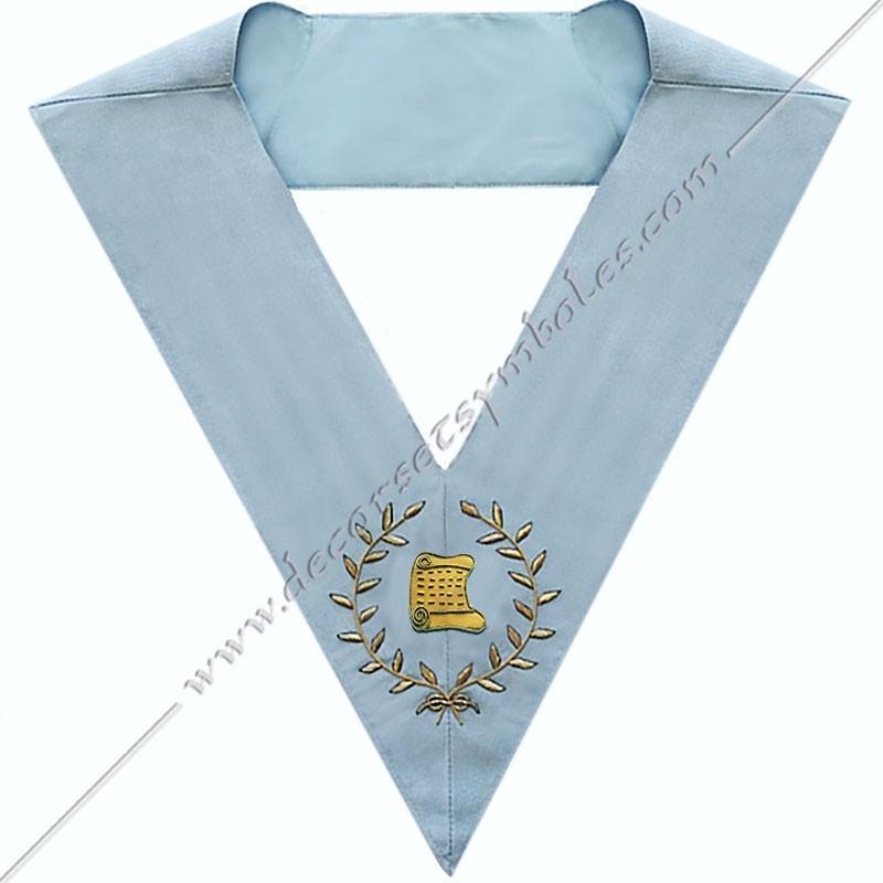 SRFM 012 - Architecte, sautoir d'officier du rite français moderne, acacia, décors maçonniques, bijoux, franc maçonnerie