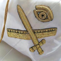 Tronc de la veuve, sac maçonnique. Outils de loges, accessoires de franc maçonnerie, FM,  symboles et signes, brodés fils d'or