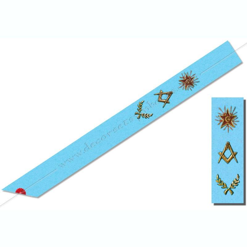 BRF 002 - Cordon de Maitre du rite français Groussier. Équerre et compas , acacia, étoile. Décors franc-maconnerie