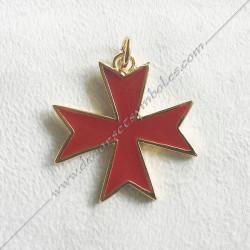 FGK650- pendentif croix templière, bijou maconnique or émaillé rouge. Décors et cadeaux de franc maconnerie