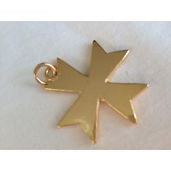 pendentif croix templière, bijou maconnique or émaillé rouge. Décors et cadeaux de franc maconnerie