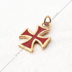 FGK540- pendentif croix templière, bijou maconnique or émaillé rouge. Décors et cadeaux de franc maconnerie