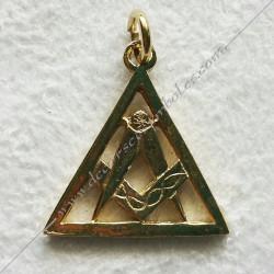 FGK620- pendentif triangle equerre compas, bijou maconnique or, décors et cadeaux de franc maconnerie, symboles et signes FM