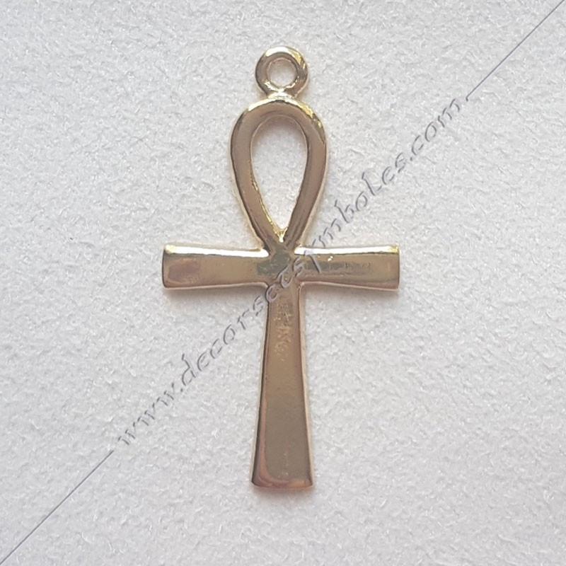 FGK640- pendentif croix d'Ankh, bijou maconnique doré, décors et cadeaux de franc maconnerie, symboles et signes FM